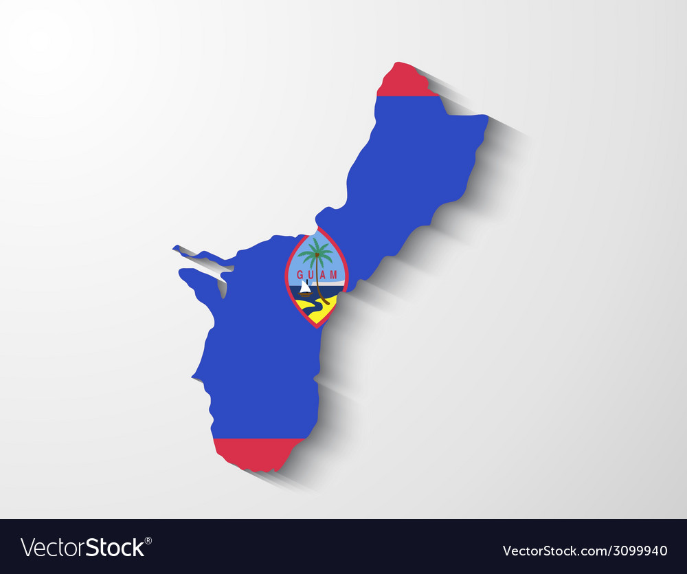 Guam country map with shadow effect presentation vector | Price: 1 Credit (USD $1)