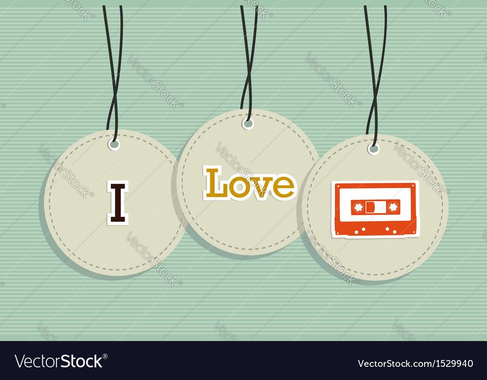 Hanging vintage music badges vector | Price: 1 Credit (USD $1)