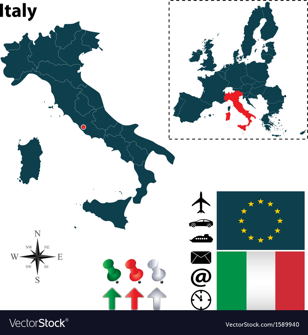 Italy and european union map vector | Price: 1 Credit (USD $1)
