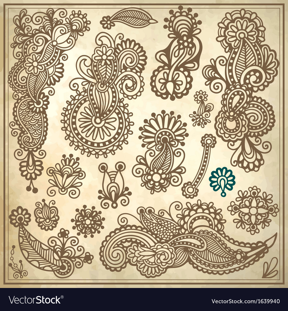Line art ornate flower design collection vector | Price: 1 Credit (USD $1)