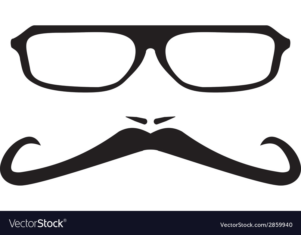 Men face with long mustache and huge glasses vector | Price: 1 Credit (USD $1)
