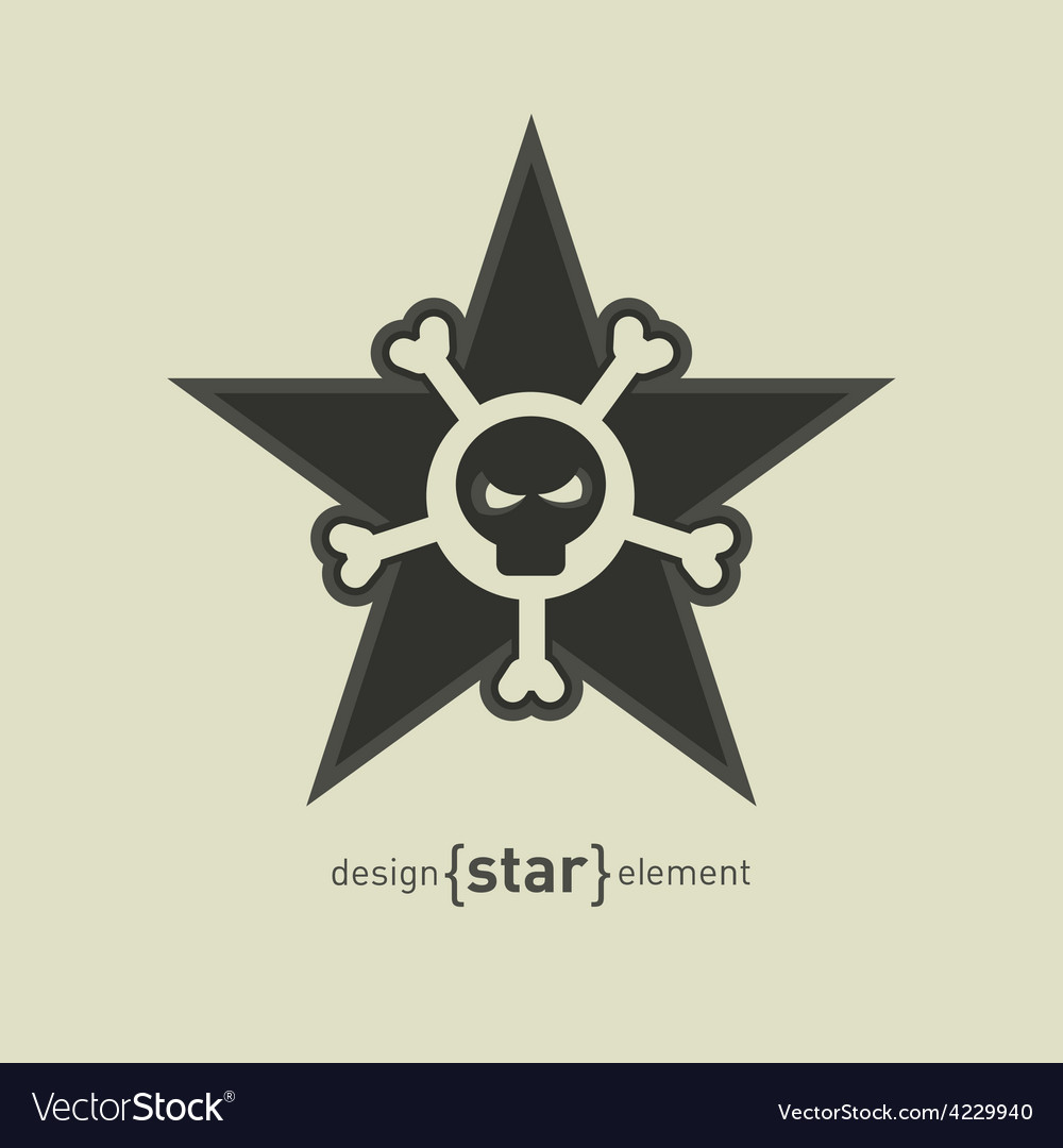 Star with skull and bones abstract design element vector | Price: 1 Credit (USD $1)