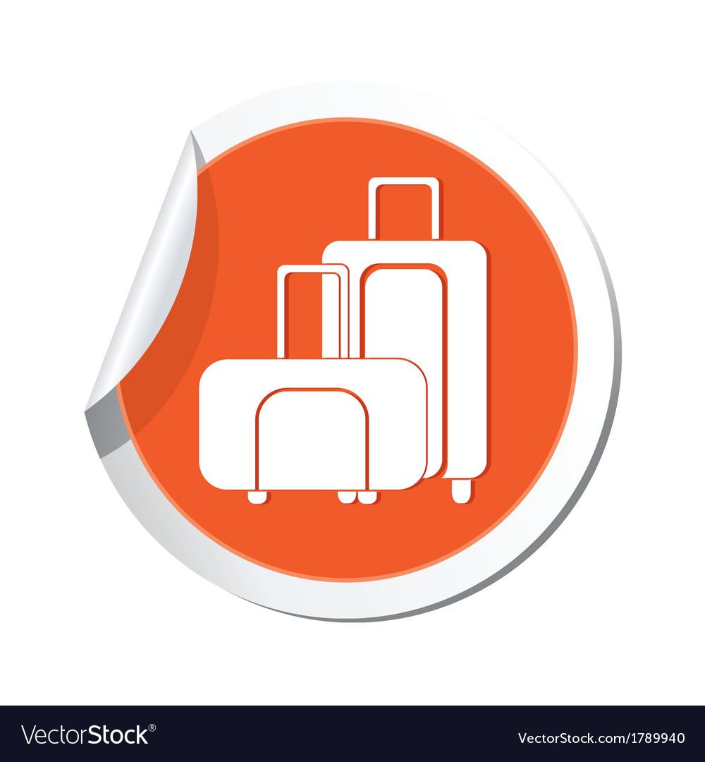 Suitcases icon orange sticker vector | Price: 1 Credit (USD $1)
