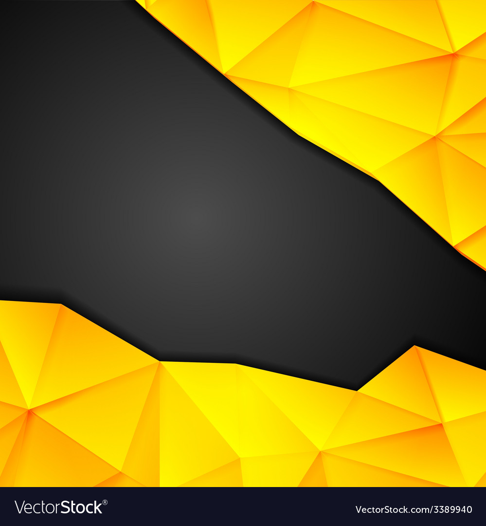 Tech geometry yellow and black background vector | Price: 1 Credit (USD $1)