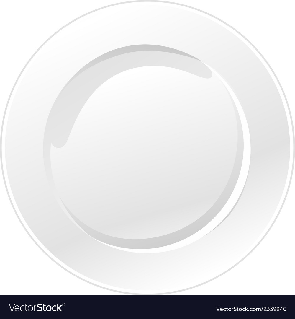 White plate isolated on white background vector | Price: 1 Credit (USD $1)