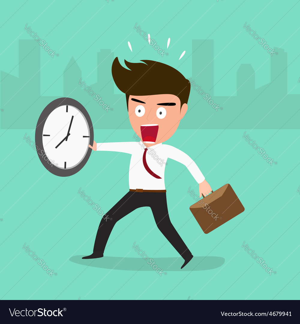 Businessman late going to work vector | Price: 1 Credit (USD $1)