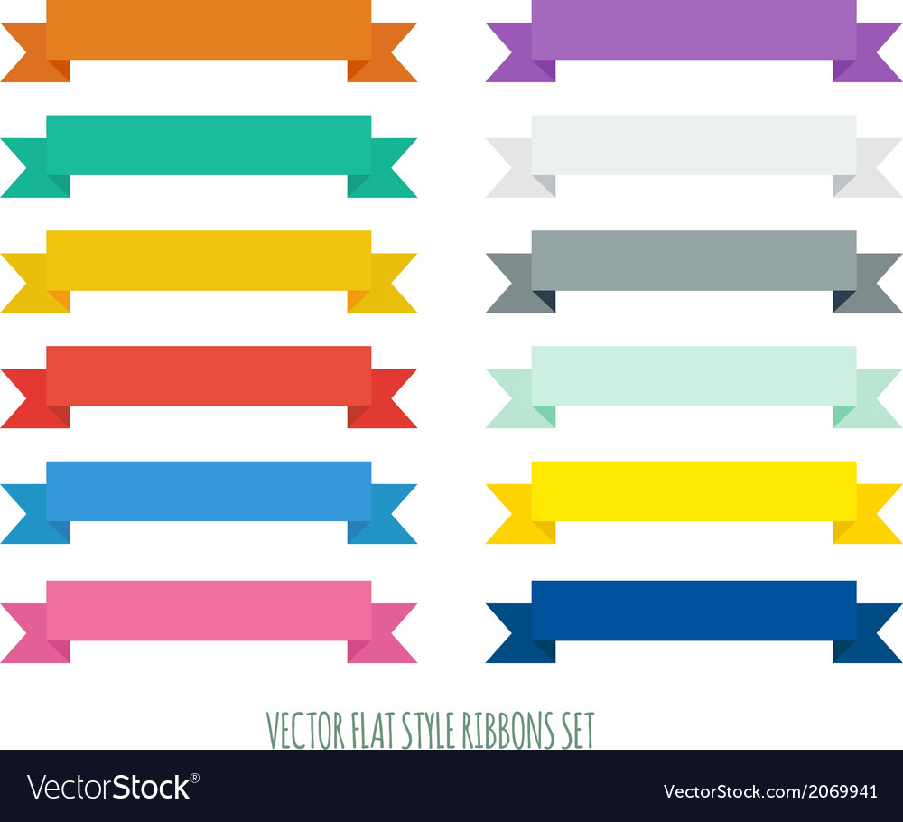 Collection of flat ribbons of different colors vector | Price: 1 Credit (USD $1)