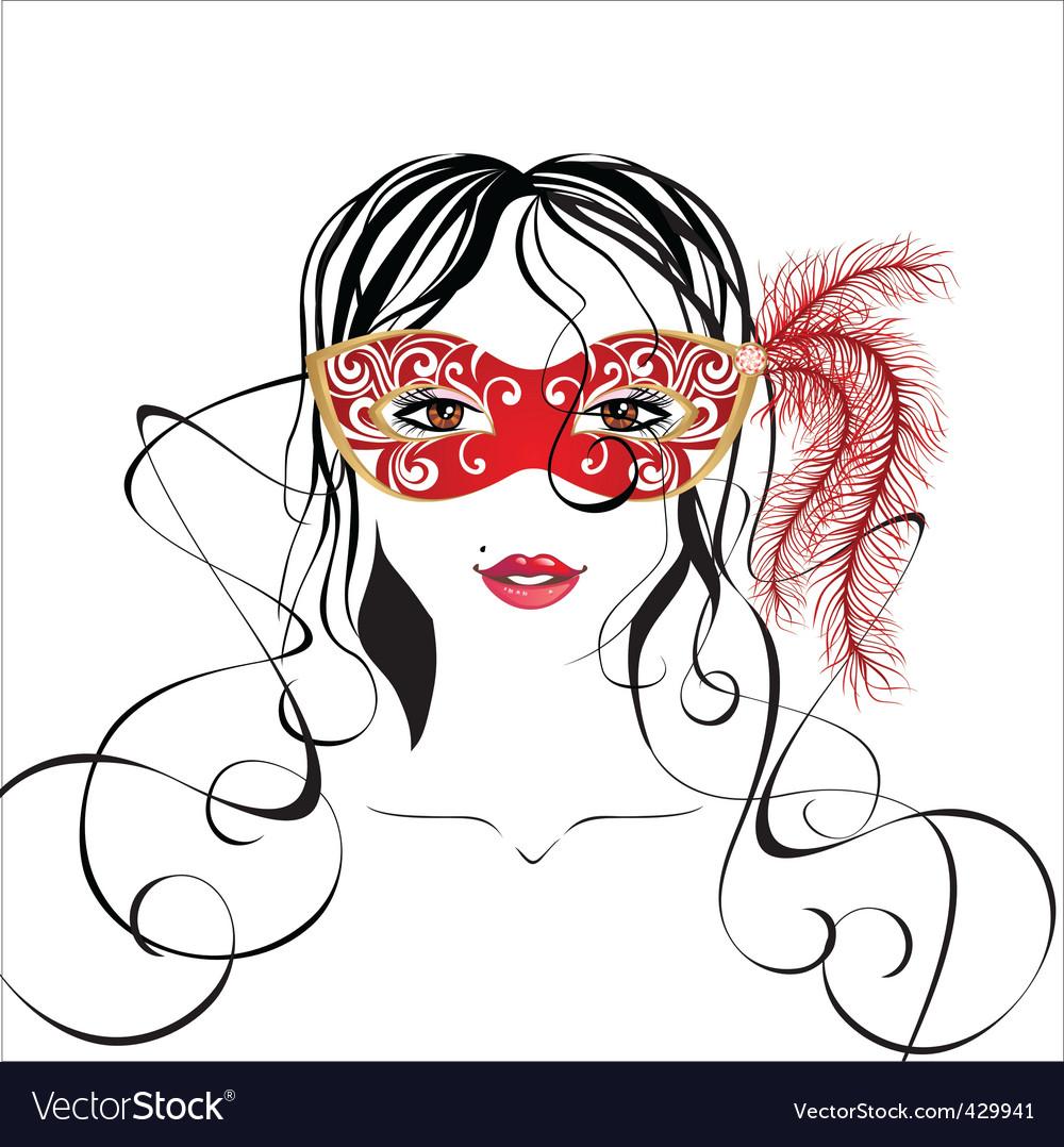 Girl in a carnival mask vector | Price: 1 Credit (USD $1)