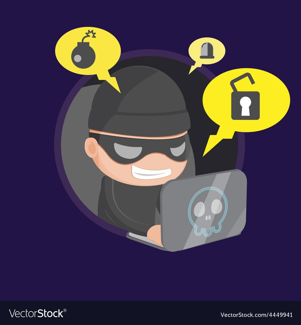 Hacker thief robbery network cartoon vector | Price: 1 Credit (USD $1)