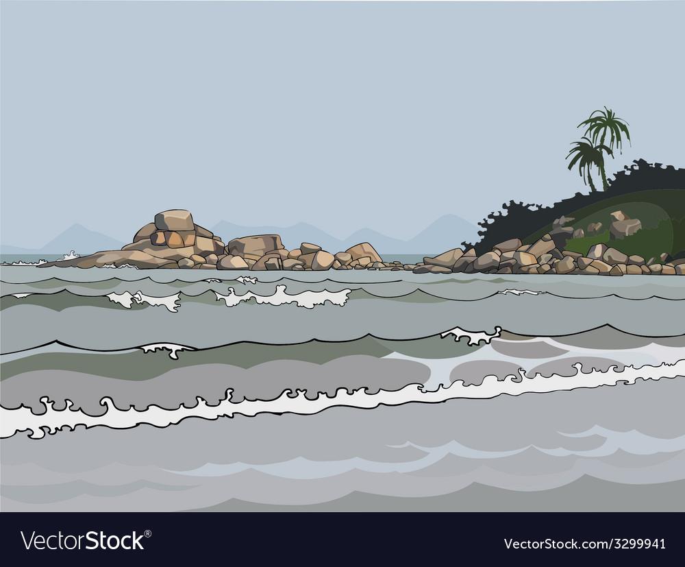 Landscape gray sea in the tropics vector | Price: 1 Credit (USD $1)