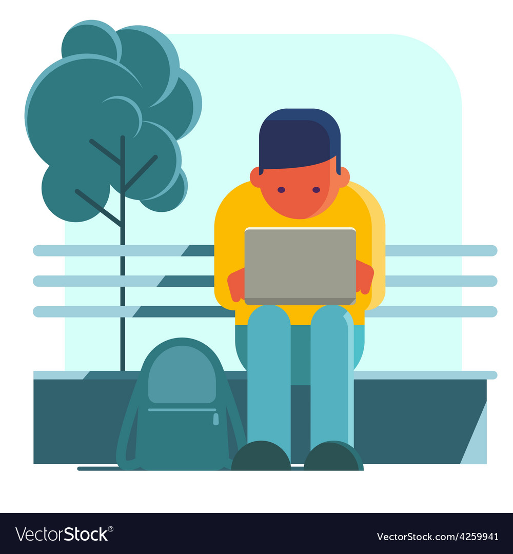 Man working on laptop on the street vector | Price: 1 Credit (USD $1)