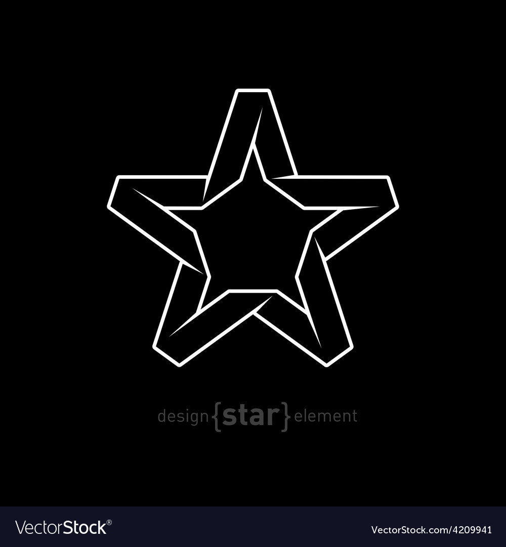 One color imitation of origami star from paper on vector | Price: 1 Credit (USD $1)
