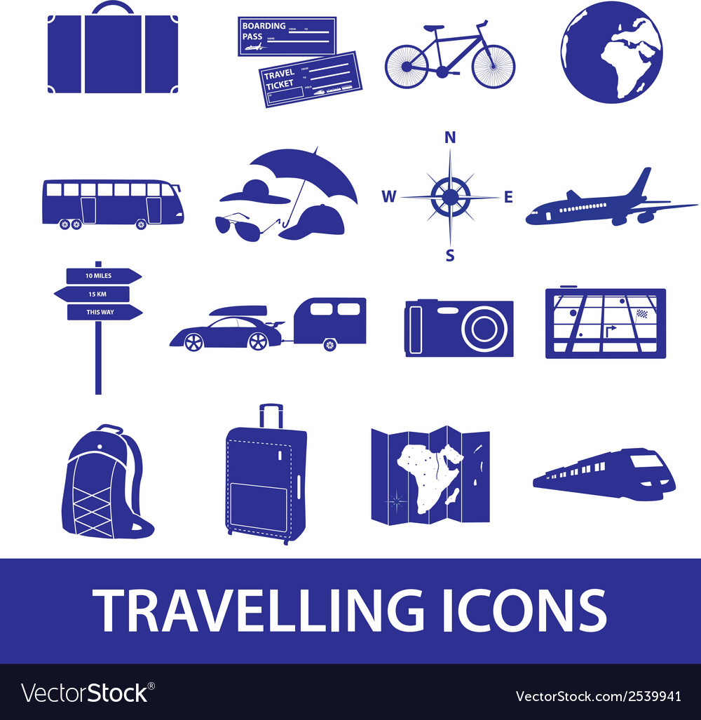Travelling icons set eps10 vector | Price: 1 Credit (USD $1)
