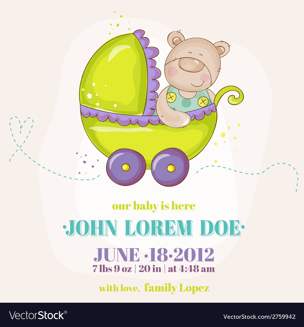 Baby boy arrival card - baby bear in carriage vector | Price: 1 Credit (USD $1)