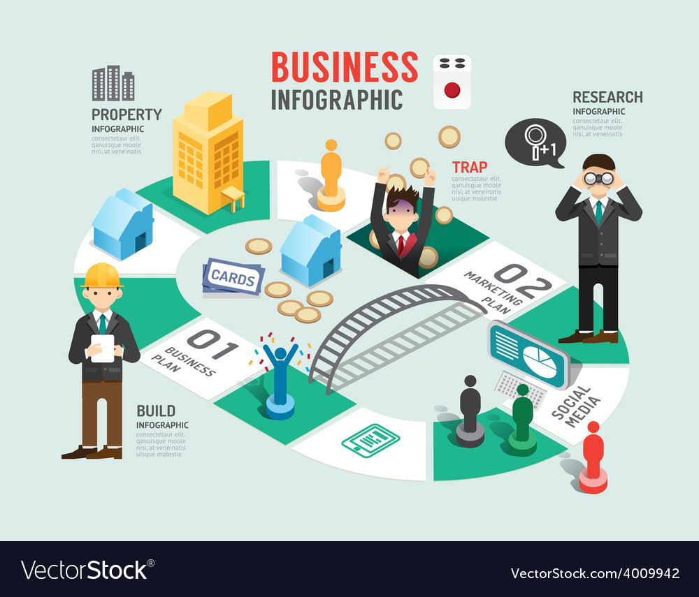 Business board game concept infographic vector | Price: 3 Credit (USD $3)