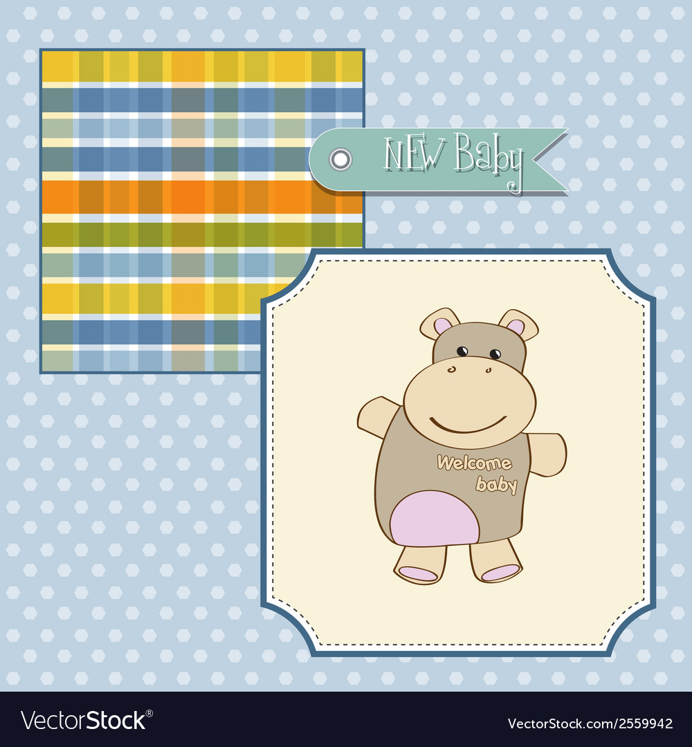 Childish baby shower card with hippo toy vector | Price: 1 Credit (USD $1)