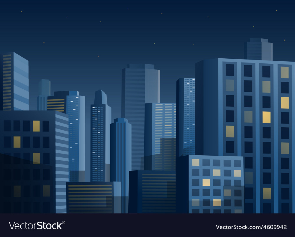 Cityscape at night background vector | Price: 3 Credit (USD $3)