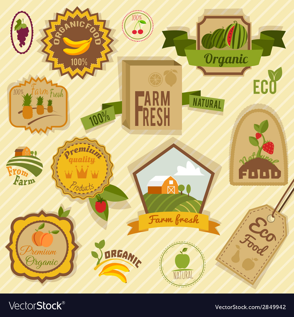 Eco labels fruits vector | Price: 1 Credit (USD $1)
