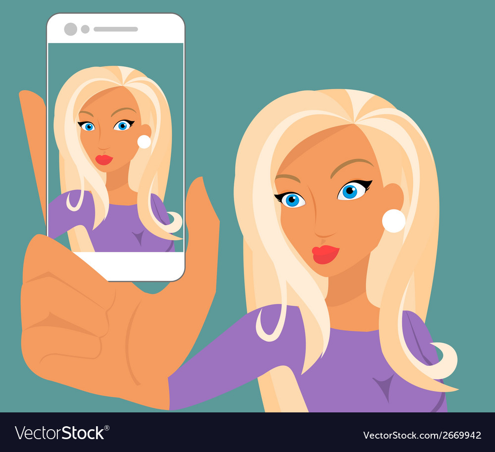 Funny selfie of blonde sensual woman wearing vector | Price: 1 Credit (USD $1)