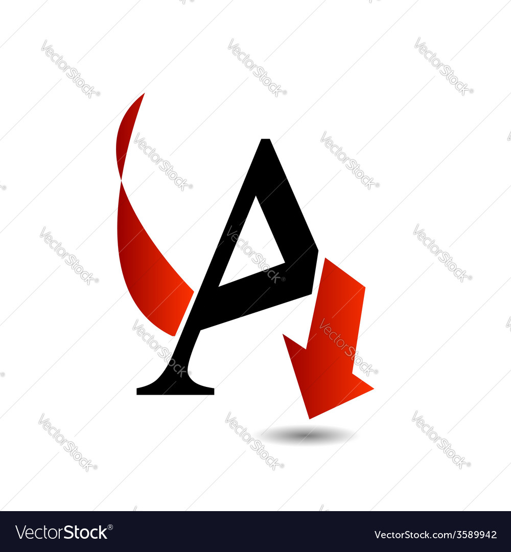 Logo abstract letter a with red arrow vector | Price: 1 Credit (USD $1)