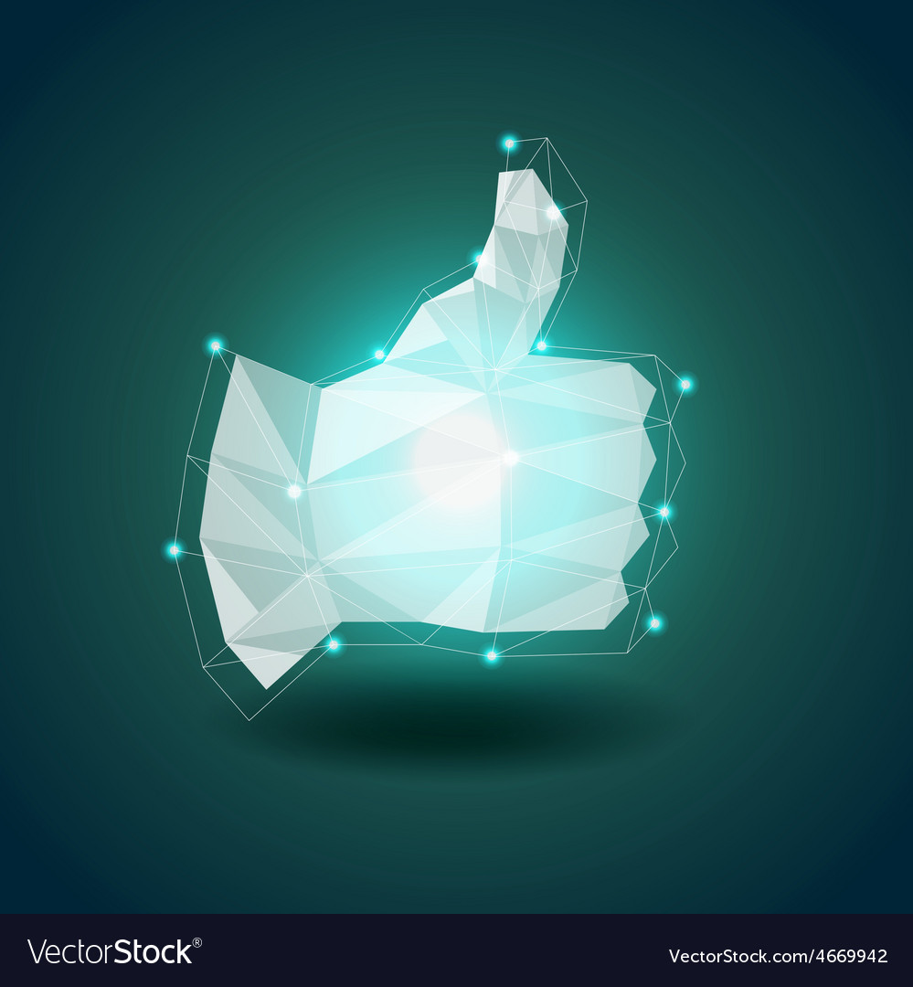 Luminous polygonal hand thumbs up background vector | Price: 3 Credit (USD $3)