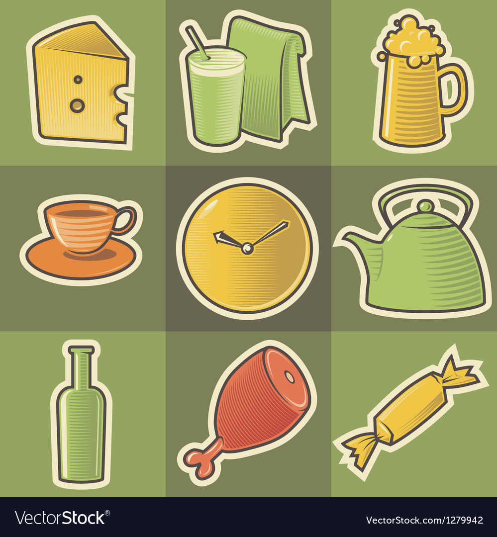 Multicolored food icons vector | Price: 1 Credit (USD $1)