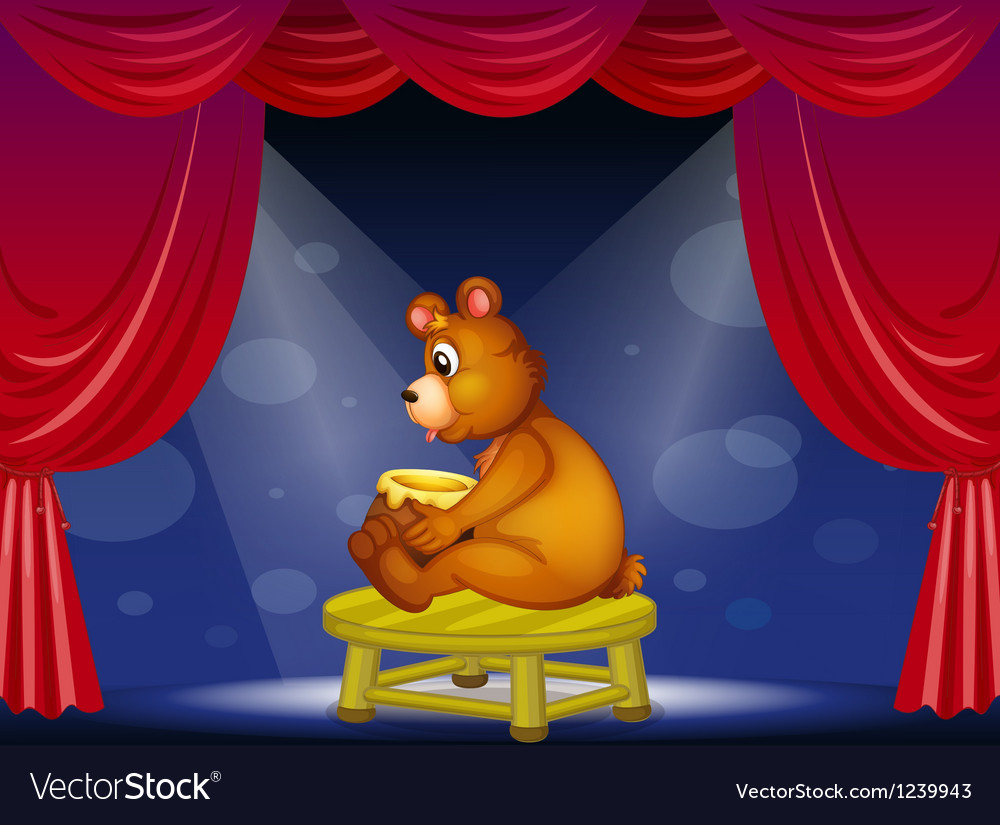 A bear with a pot of honey sitting at the stage vector | Price: 1 Credit (USD $1)