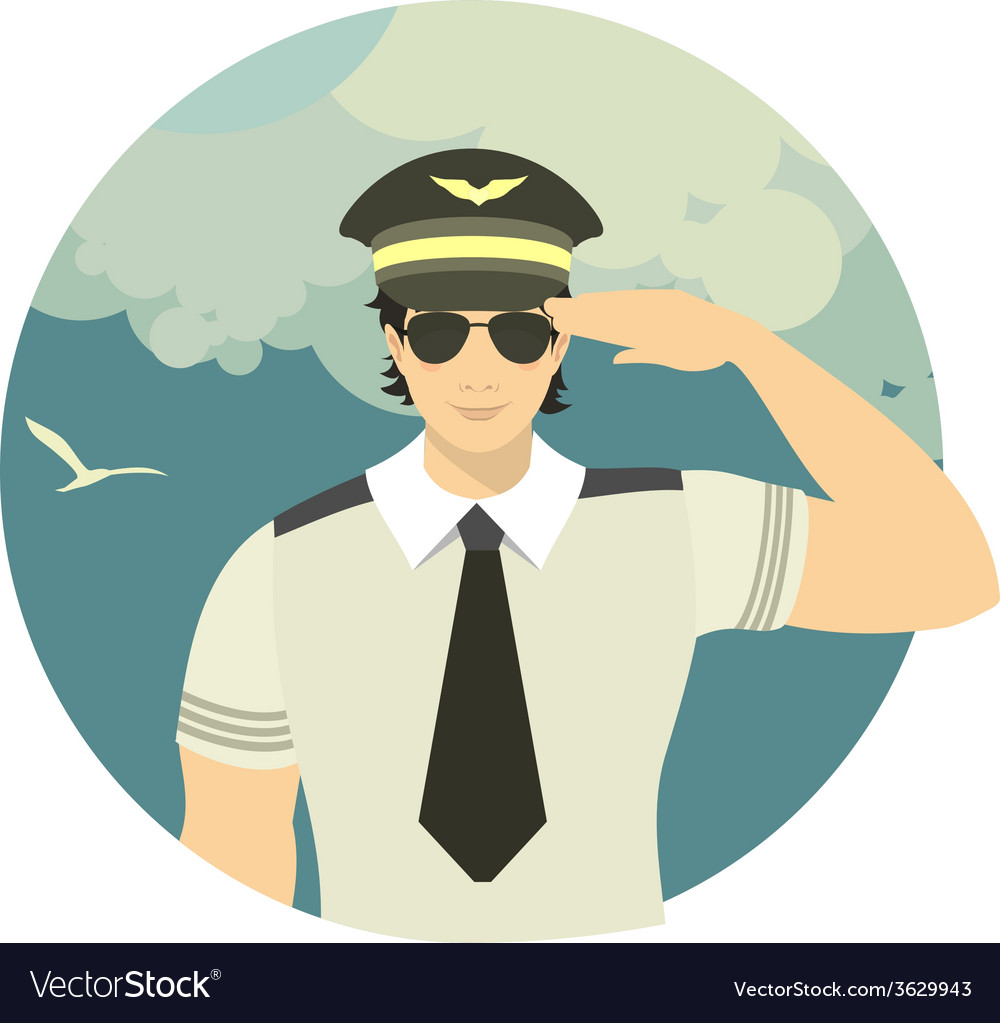 Airline pilot in a round emblem vector | Price: 1 Credit (USD $1)