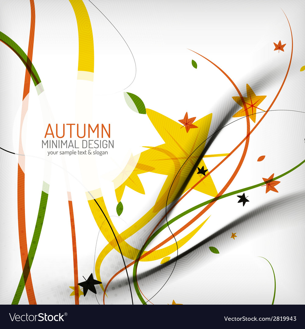 Autumn floral wave on white background vector | Price: 1 Credit (USD $1)