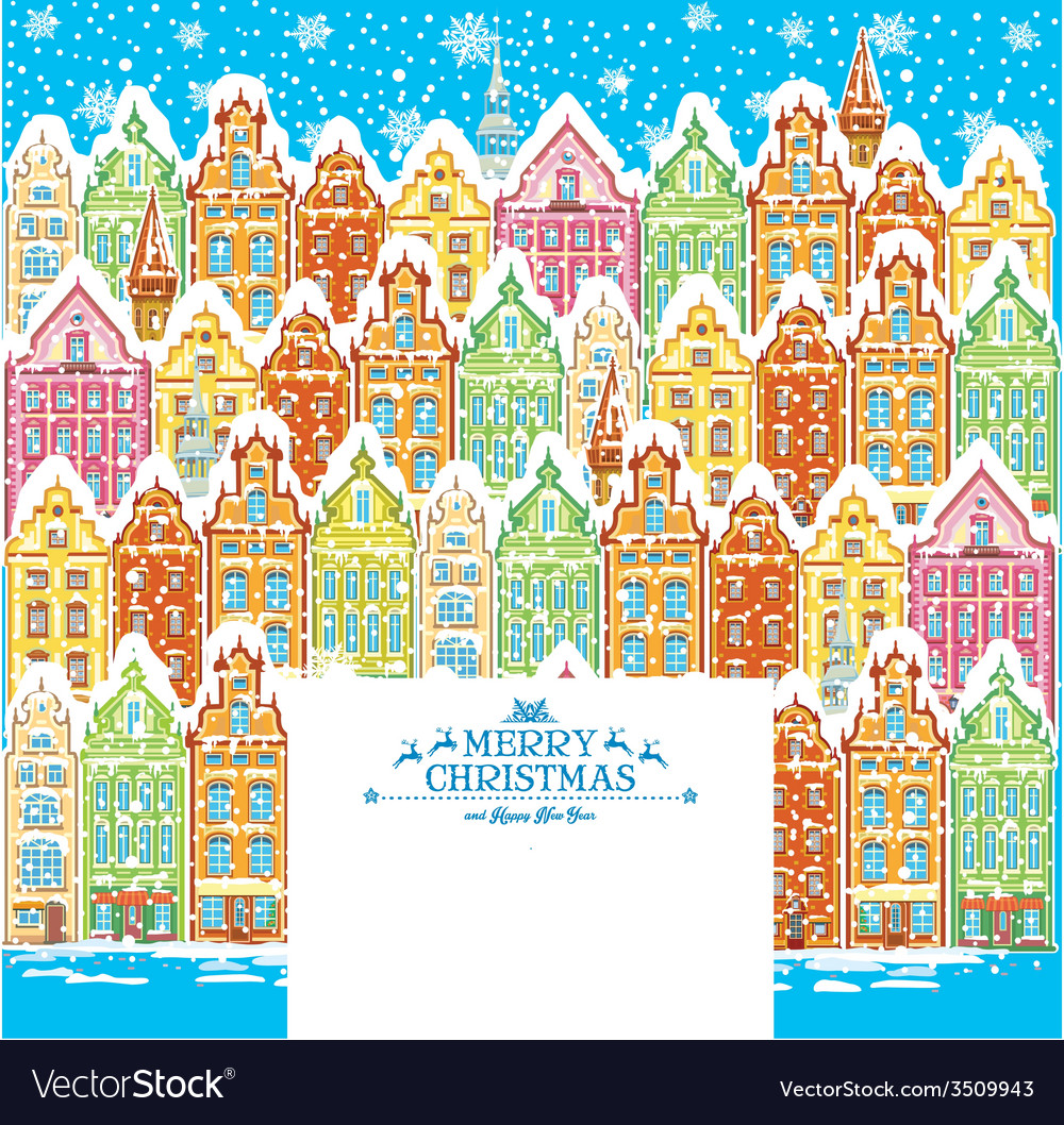 Background of a snowy old town vector | Price: 1 Credit (USD $1)