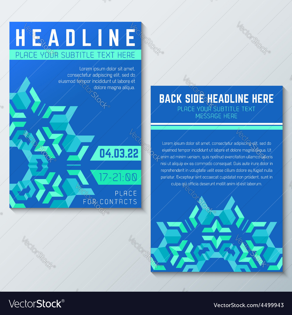 Blue green abstract flyer poster template vector | Price: 1 Credit (USD $1)