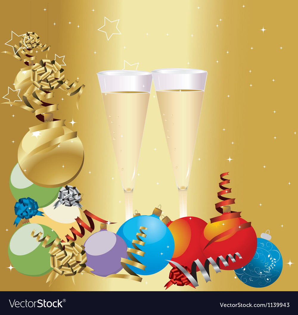 Christmas champagne vector | Price: 1 Credit (USD $1)