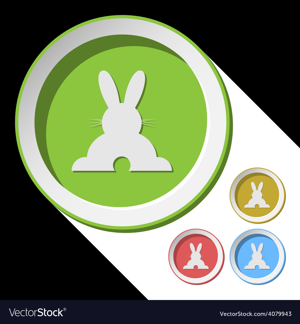 Color icons with back easter bunny vector | Price: 1 Credit (USD $1)