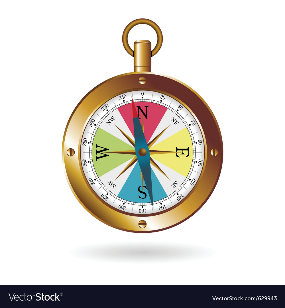 Golden box compass vector | Price: 3 Credit (USD $3)