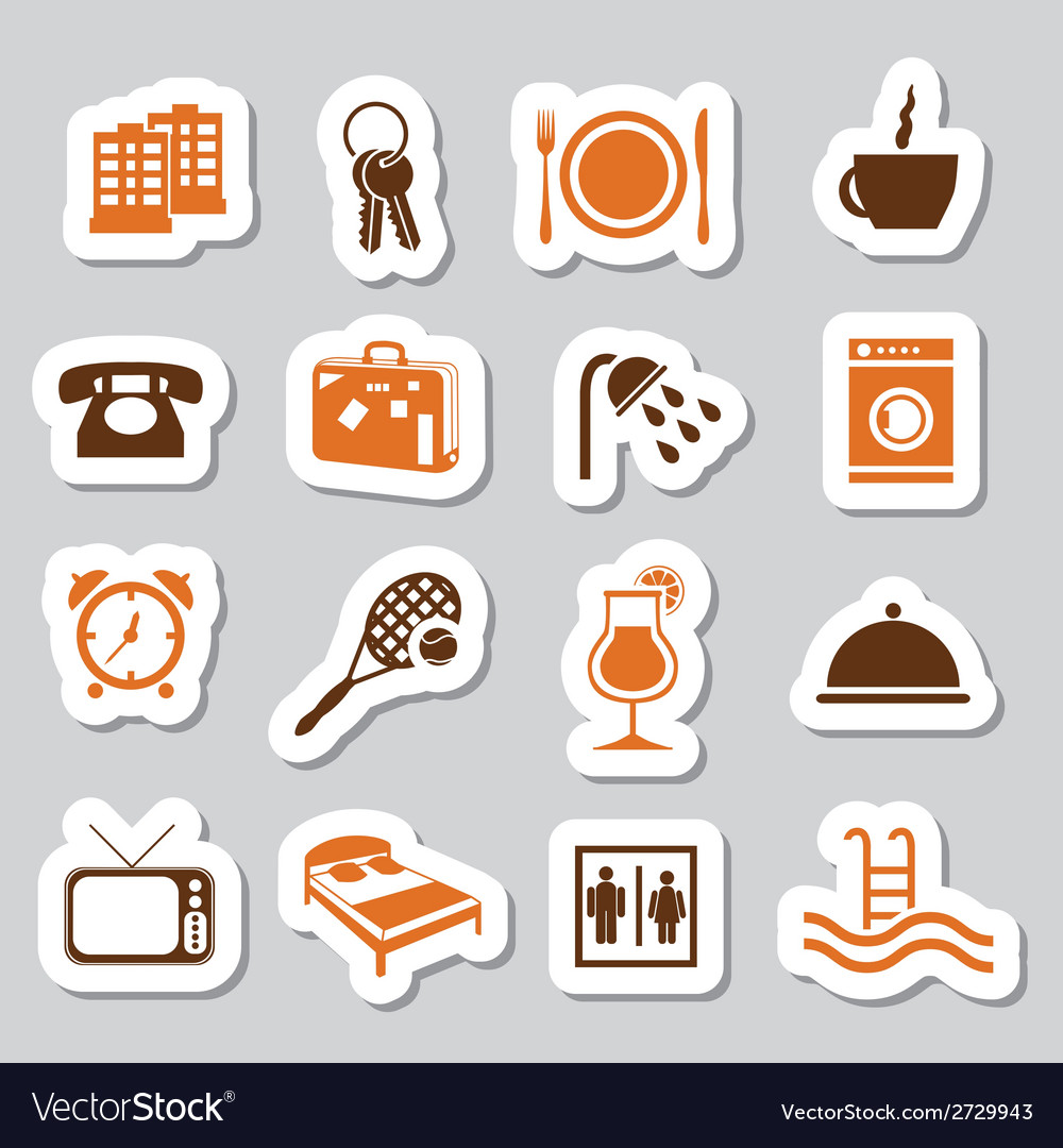 Hotel and accommodation stickers vector | Price: 1 Credit (USD $1)