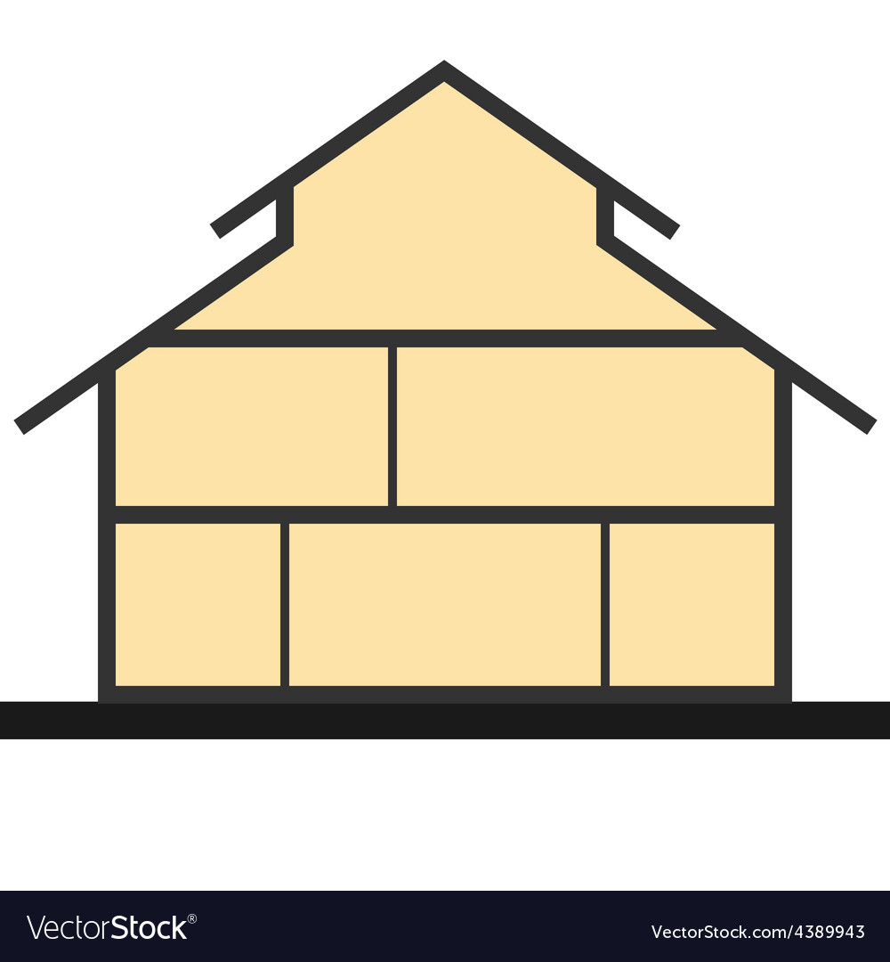House in cut flat section house vector | Price: 1 Credit (USD $1)