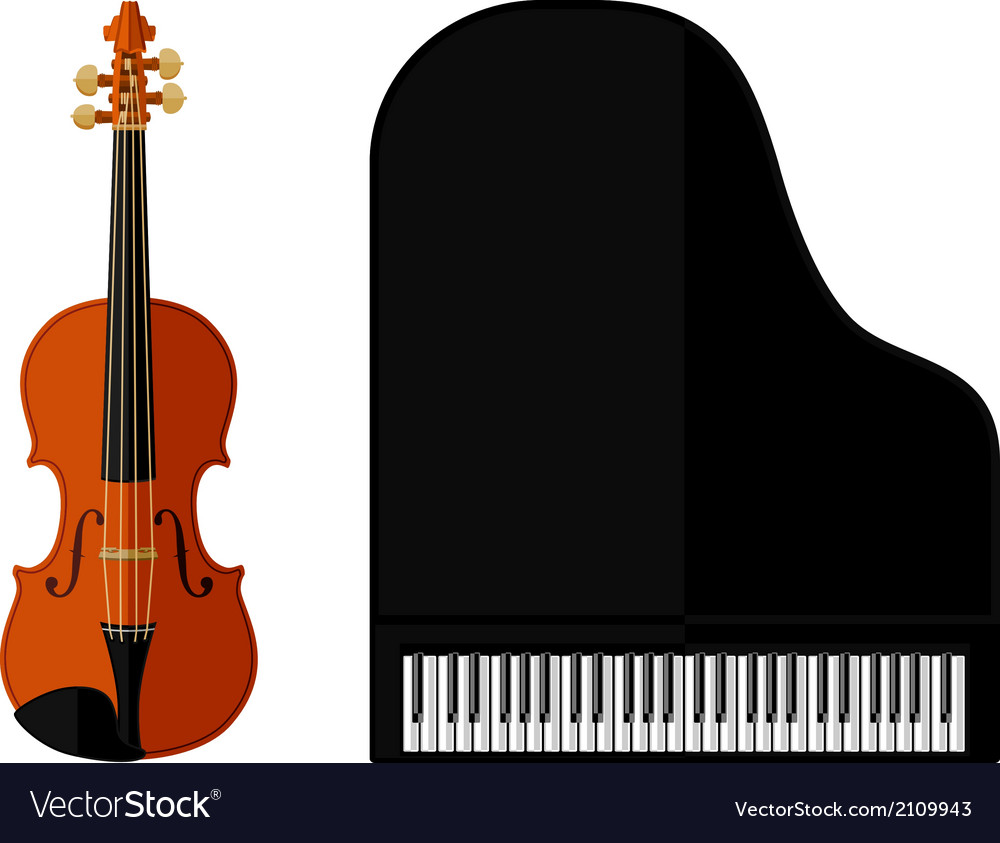 Isolated image of violin and grand piano vector | Price: 1 Credit (USD $1)