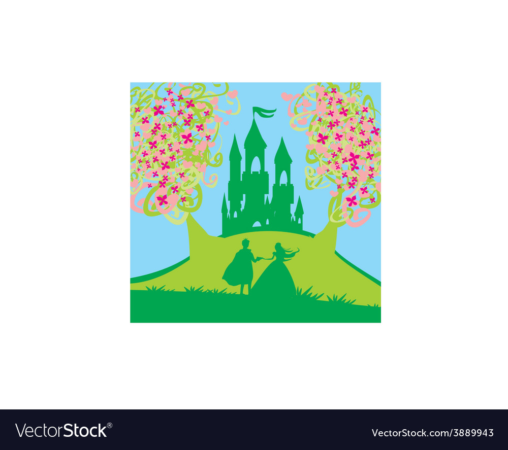 Magic castle and princess with prince vector | Price: 1 Credit (USD $1)