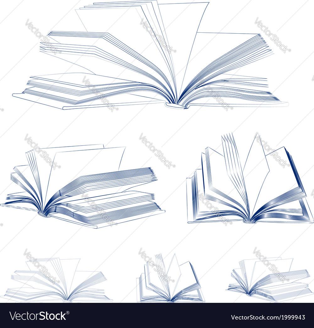 Open book sketch set vector   Price: 1 Credit (USD $1)