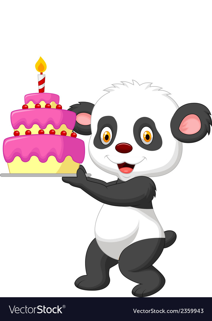 Panda cartoon with birthday cake vector | Price: 1 Credit (USD $1)
