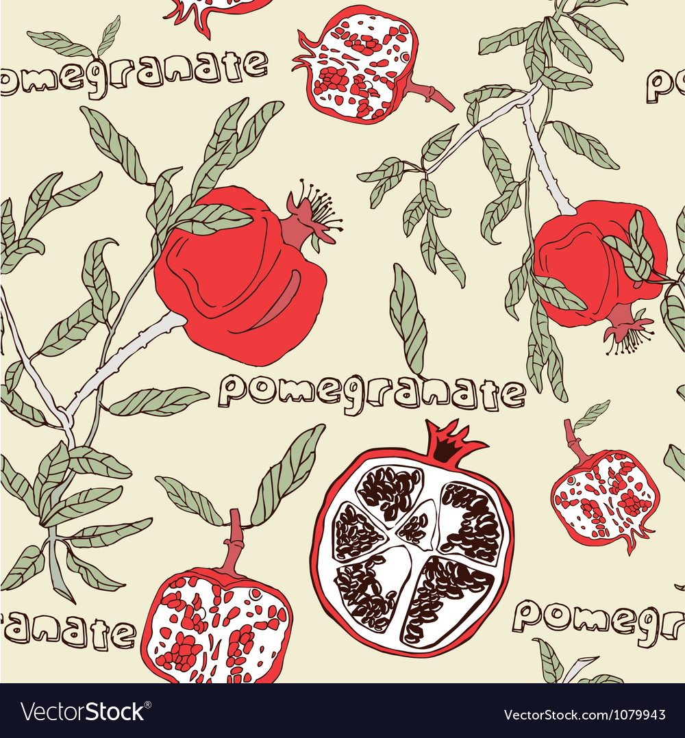 Retro pomegranate pattern vector | Price: 1 Credit (USD $1)