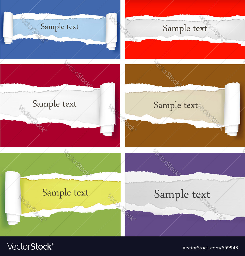 Set of ripped colorful papers vector | Price: 1 Credit (USD $1)