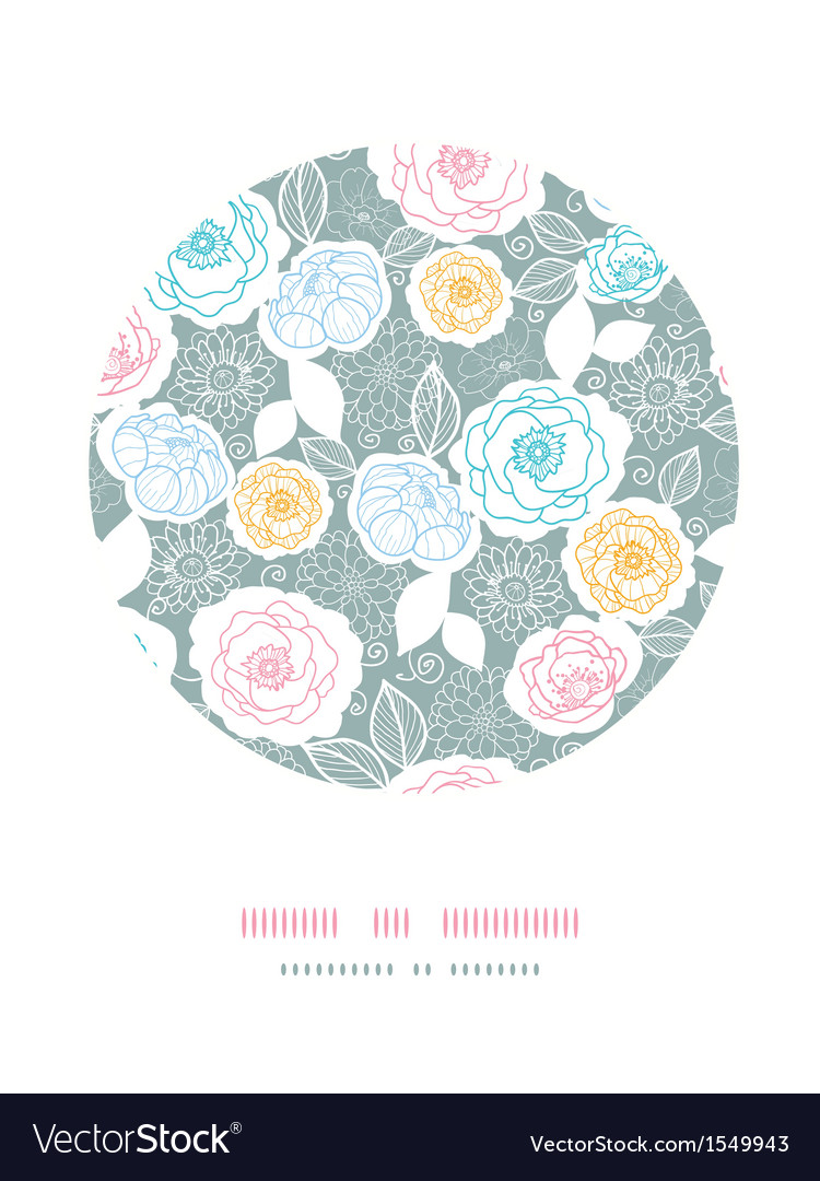 Silver and colors florals circle decor background vector | Price: 1 Credit (USD $1)