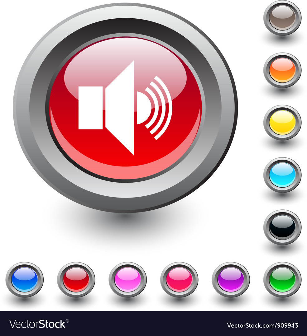 Sound round button vector | Price: 1 Credit (USD $1)