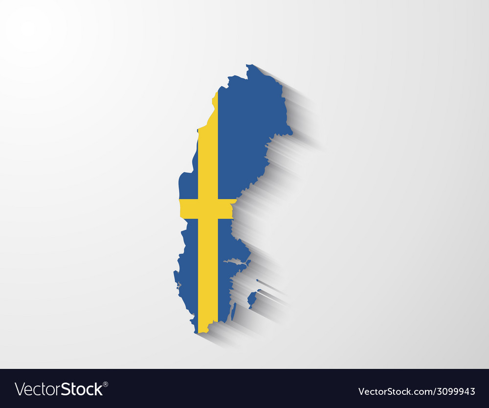 Sweden map with shadow effect vector | Price: 1 Credit (USD $1)