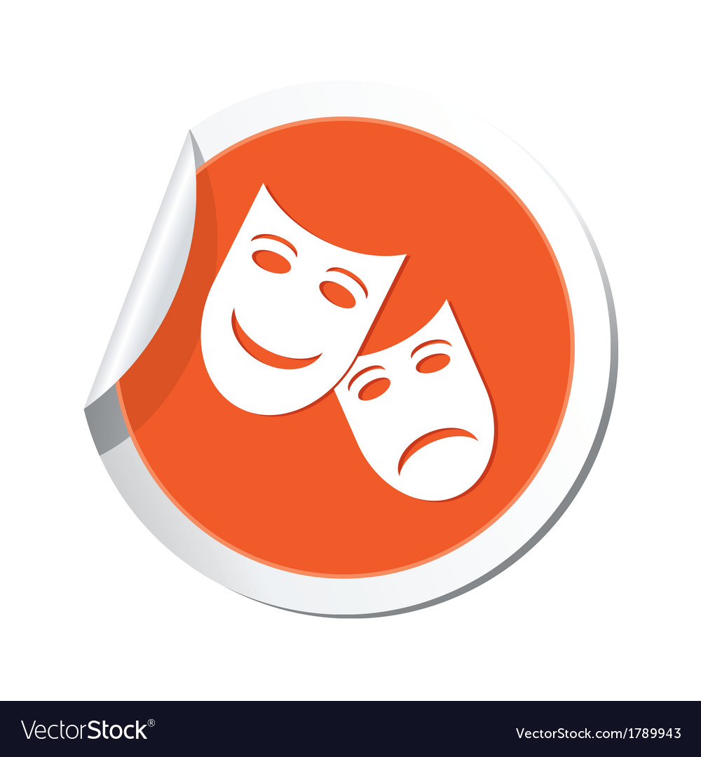 Theater icon orange sticker vector | Price: 1 Credit (USD $1)