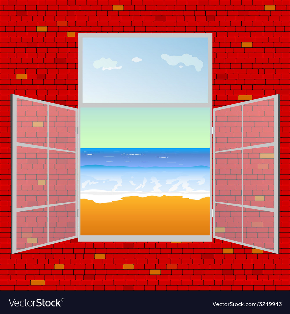 View on the beach from window vector