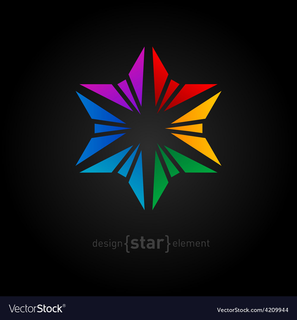 Abstract rainbow flower design element on black vector | Price: 1 Credit (USD $1)