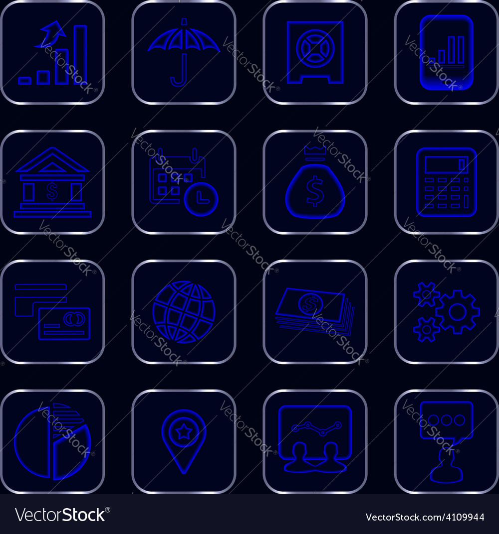 Blue glowing business icons vector | Price: 1 Credit (USD $1)