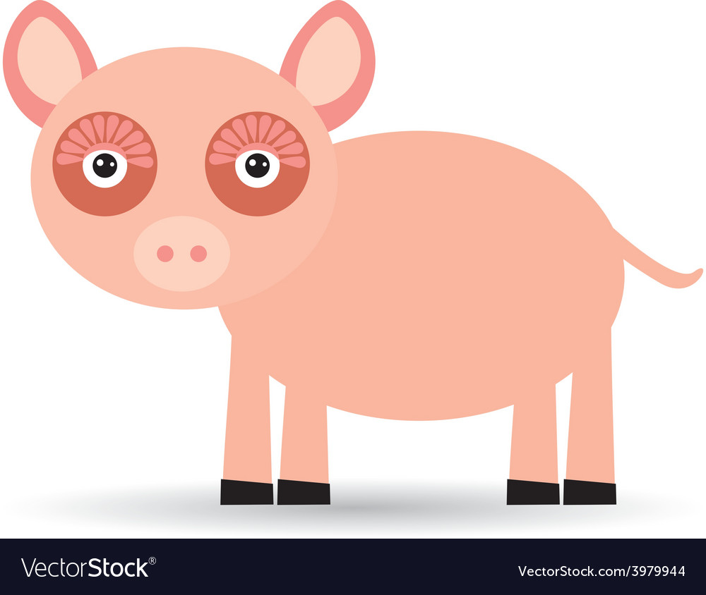 Cartoon of a pig on a white background vector | Price: 1 Credit (USD $1)
